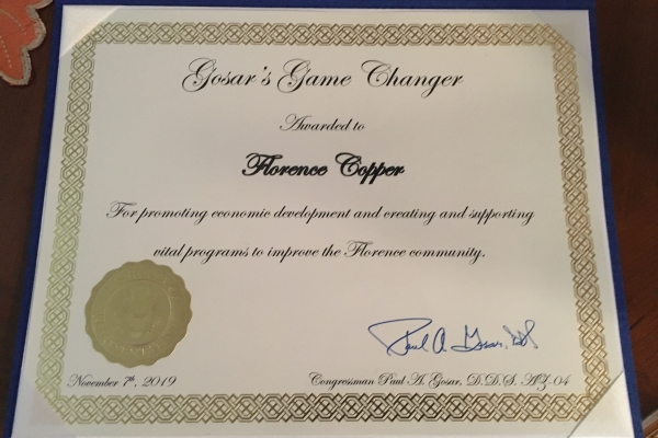 Florence Copper Receives Award from Congressman Paul Gosar